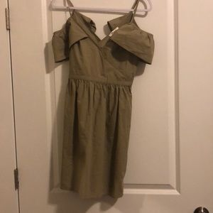 Madewell Olive Green Sun Dress with Frills